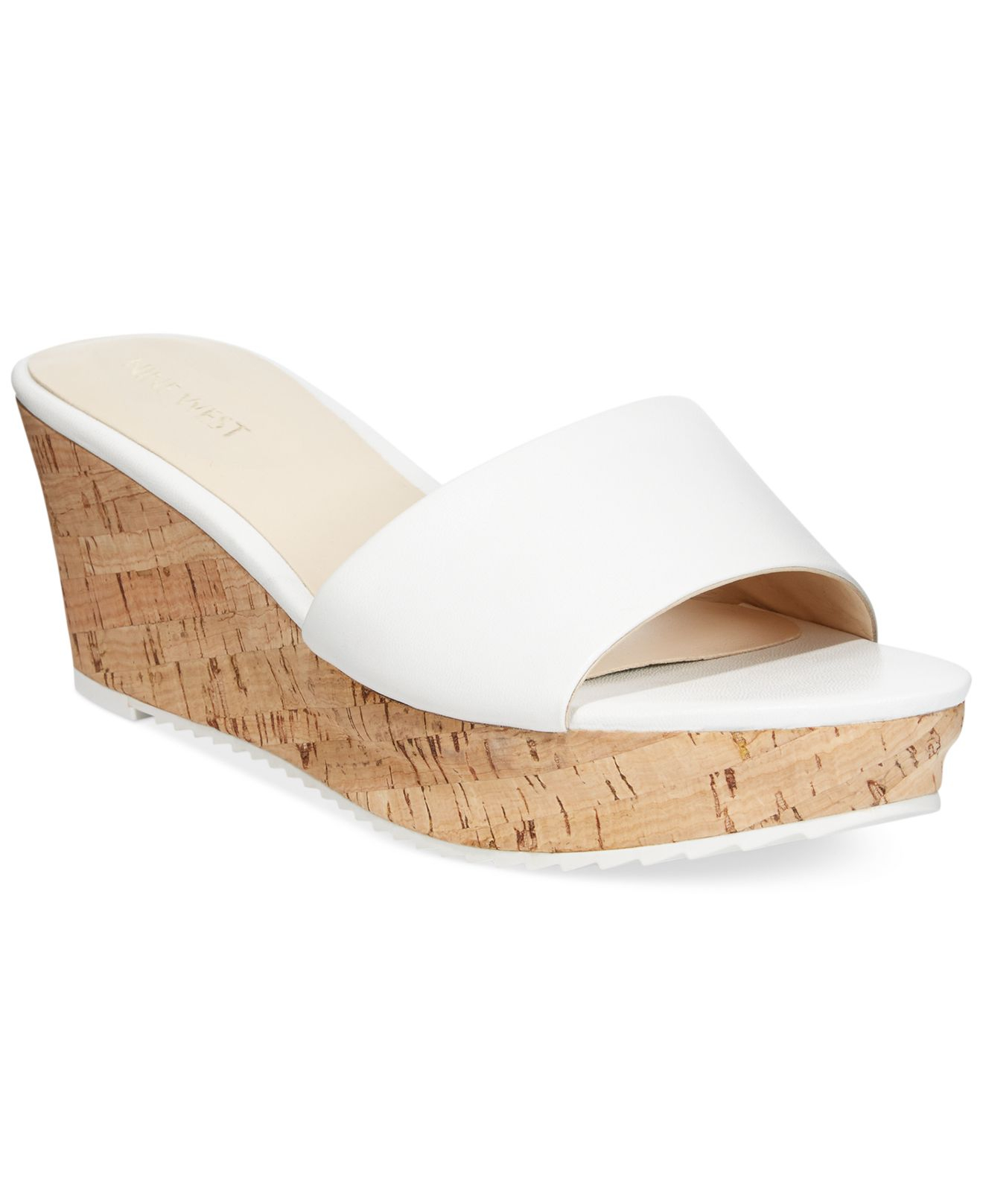 da0aea6a468 Lyst - Nine West Confetty Platform Slide Sandals in White