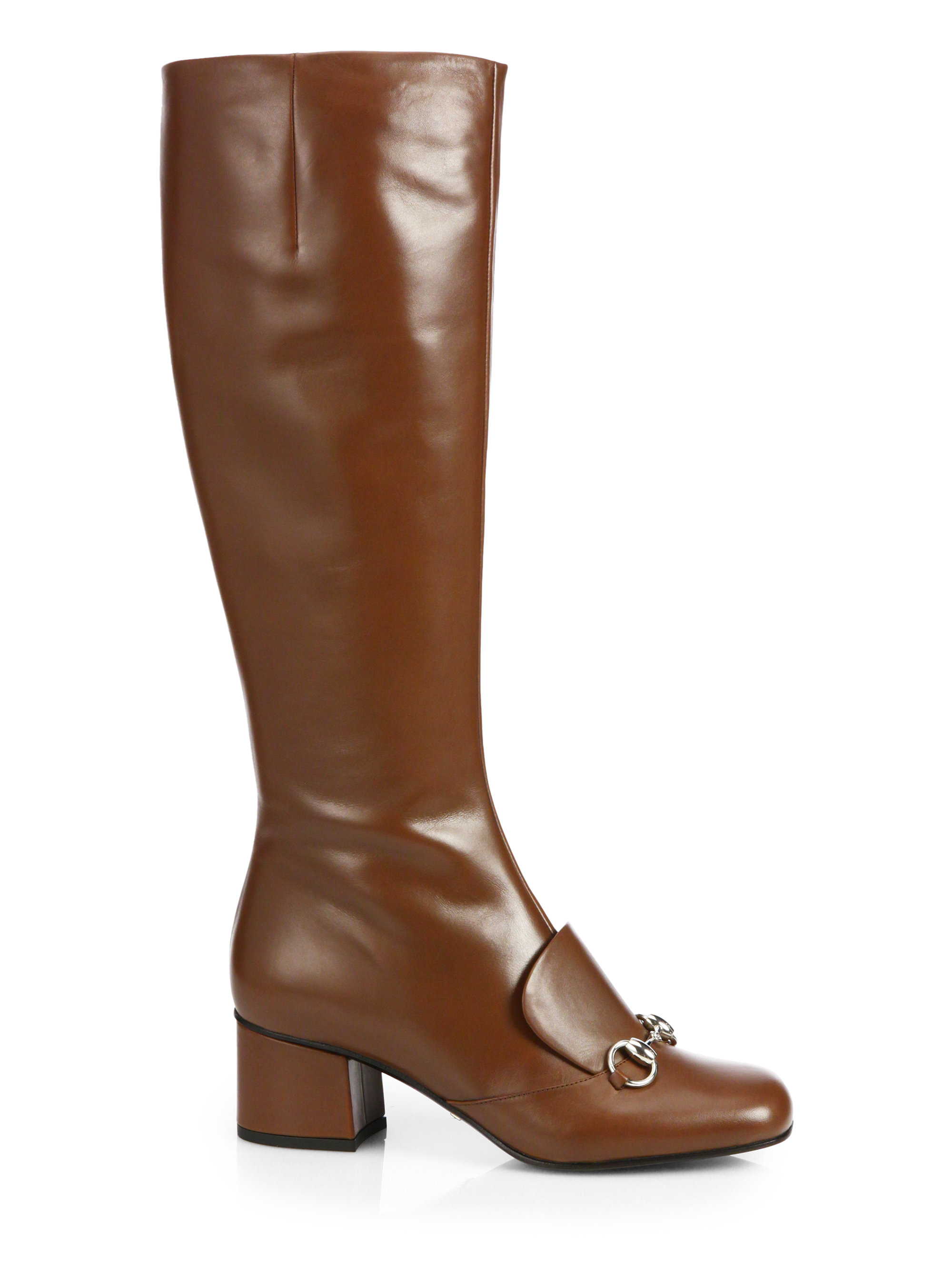 gucci lilian leather horsebit boots in brown almond