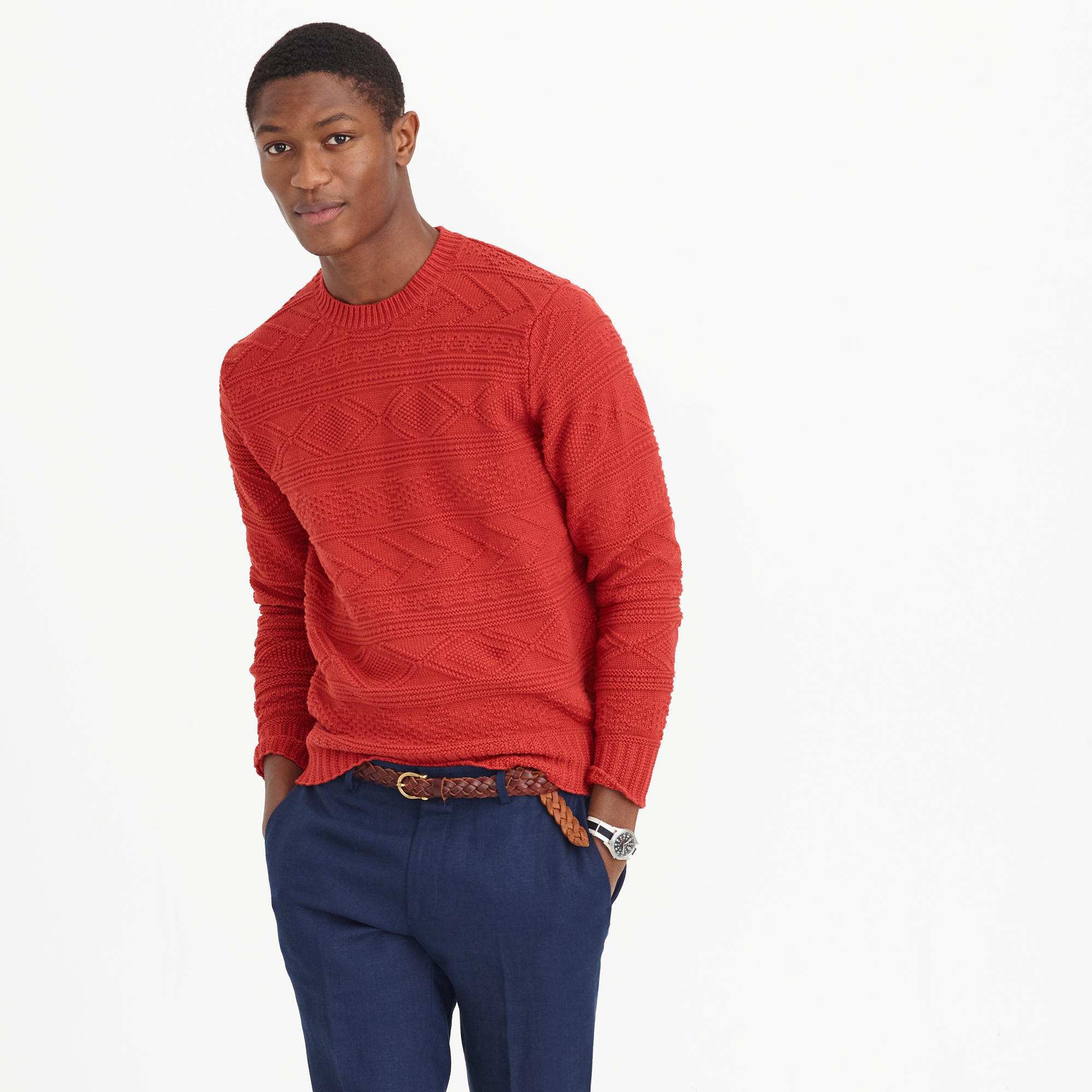 J.crew Cotton Guernsey Crewneck Sweater in Red for Men | Lyst