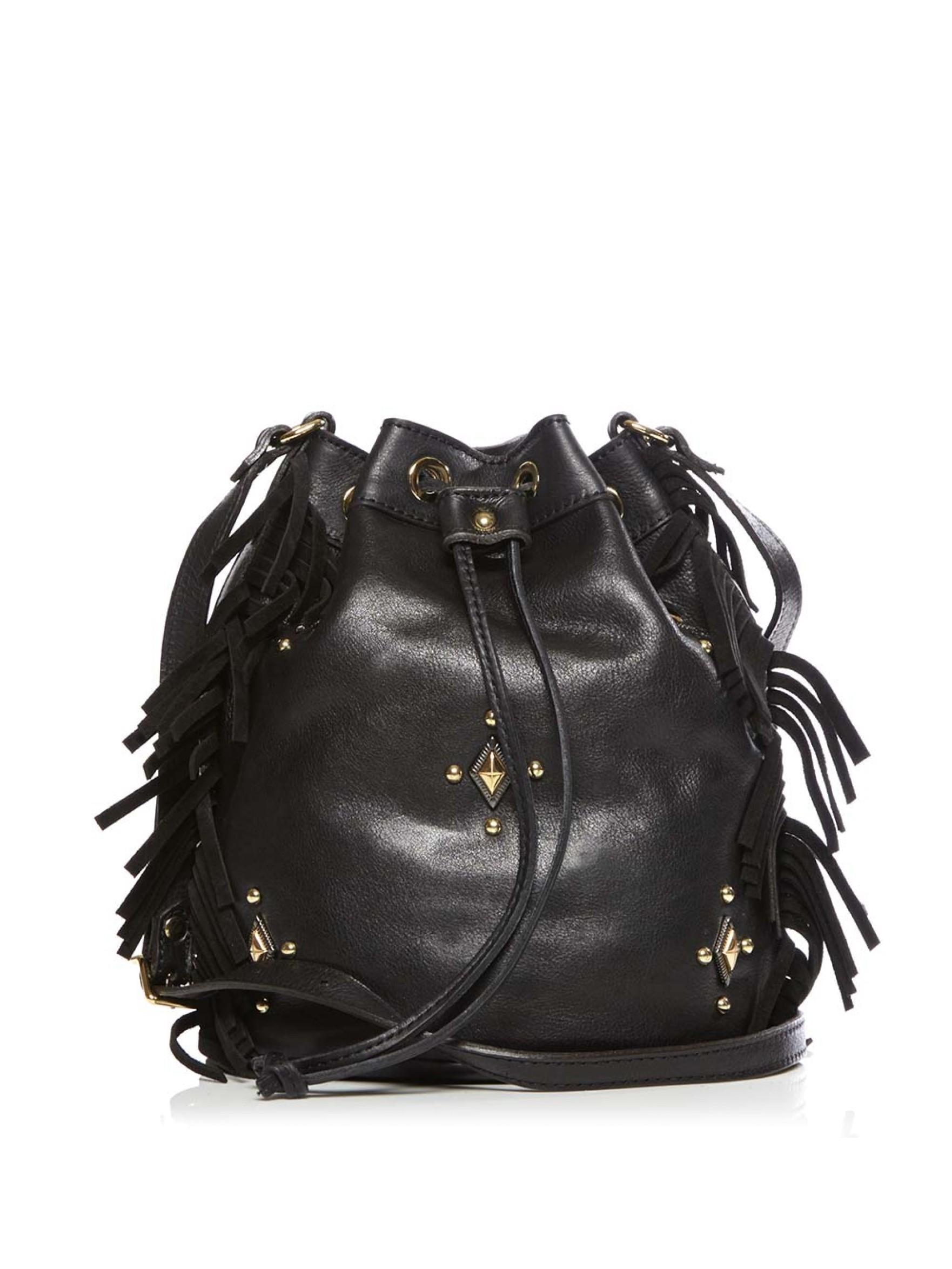 authentic ysl bags sale - emmanuel small studded fringe bucket bag, black