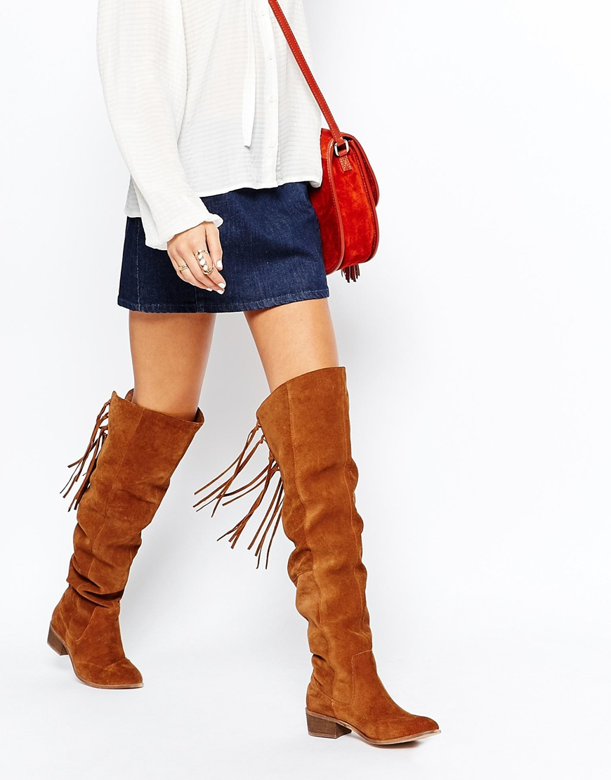 Asos Knockout Leather Western Fringe Over The Knee Boots in Orange ...