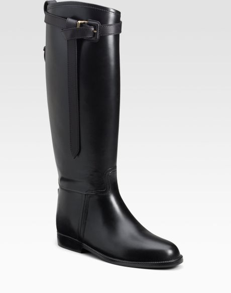 Burberry Riding Rain Boots In Black Lyst