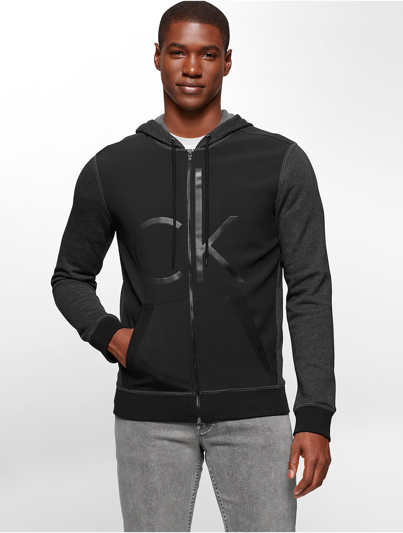 calvin klein jeans neoprene debossed logo zip front hoodie in black for men lyst. Black Bedroom Furniture Sets. Home Design Ideas