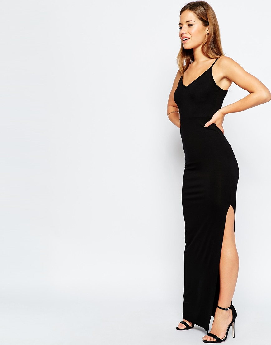 625245c9109 ASOS Bodycon Maxi Dress With Strappy Back - Black in Black - Lyst