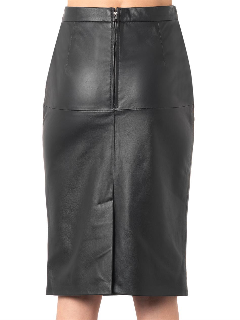 Navy blue leather pencil skirt – Modern trending things photo blog