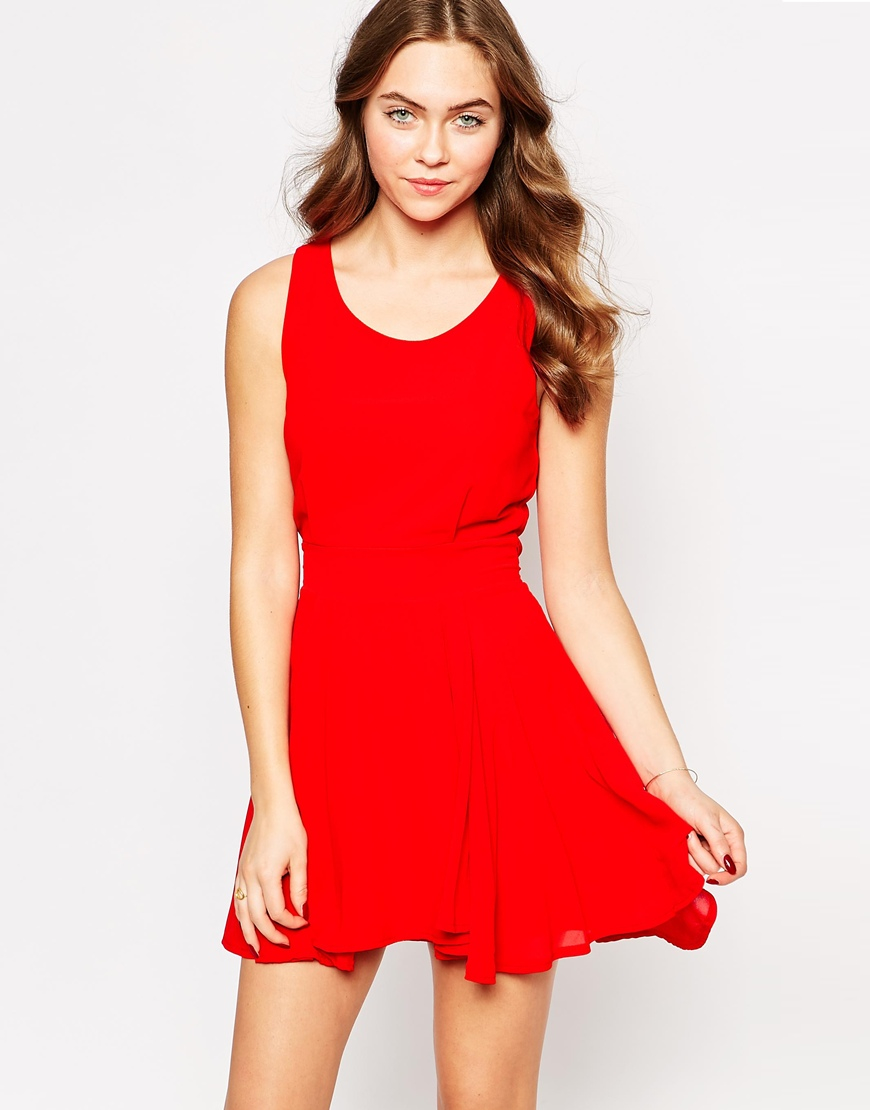 Wal-g Sleeveless Skater Dress in Red | Lyst