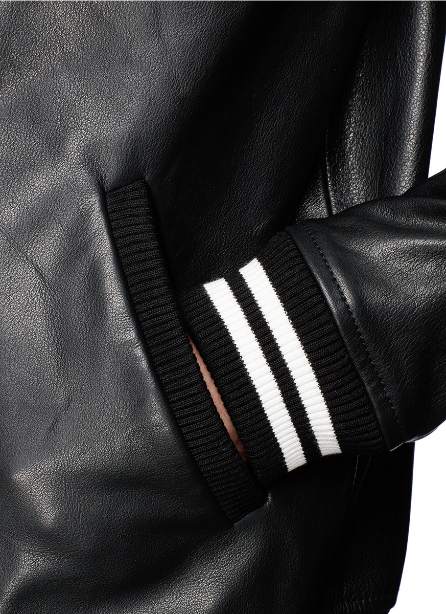 Band of outsiders Leather Varsity Jacket in Black for Men | Lyst