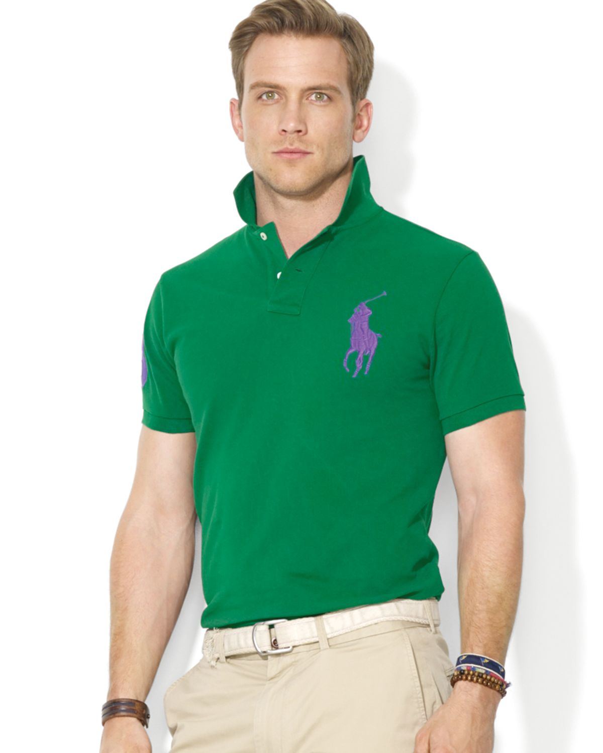 Ralph lauren Polo Custom Big Pony Mesh Polo Shirt \u2013 Slim Fit in Green for Men (Athletic Green) | Lyst
