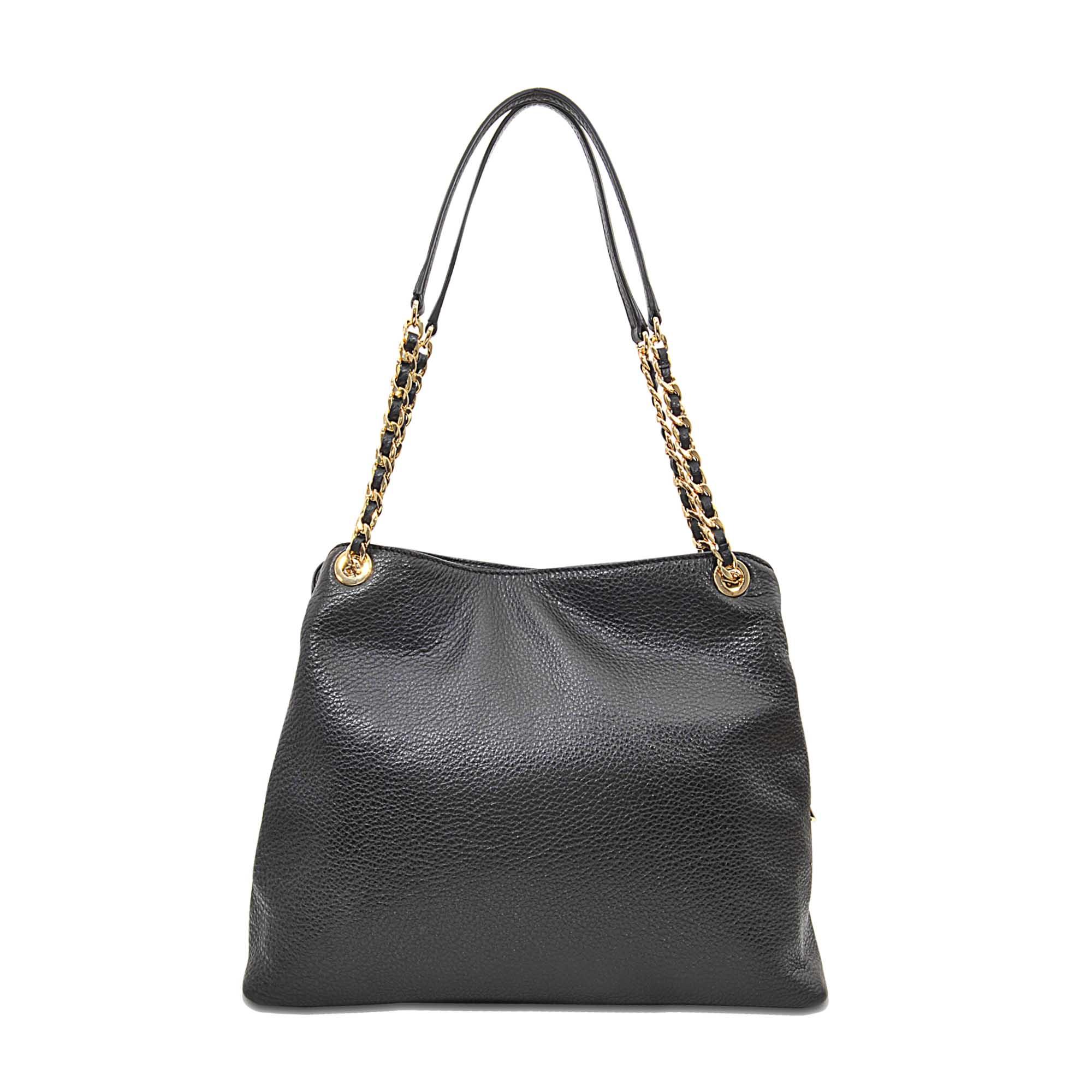 michael michael kors jet set chain item lg chain shoulder bag in black lyst. Black Bedroom Furniture Sets. Home Design Ideas