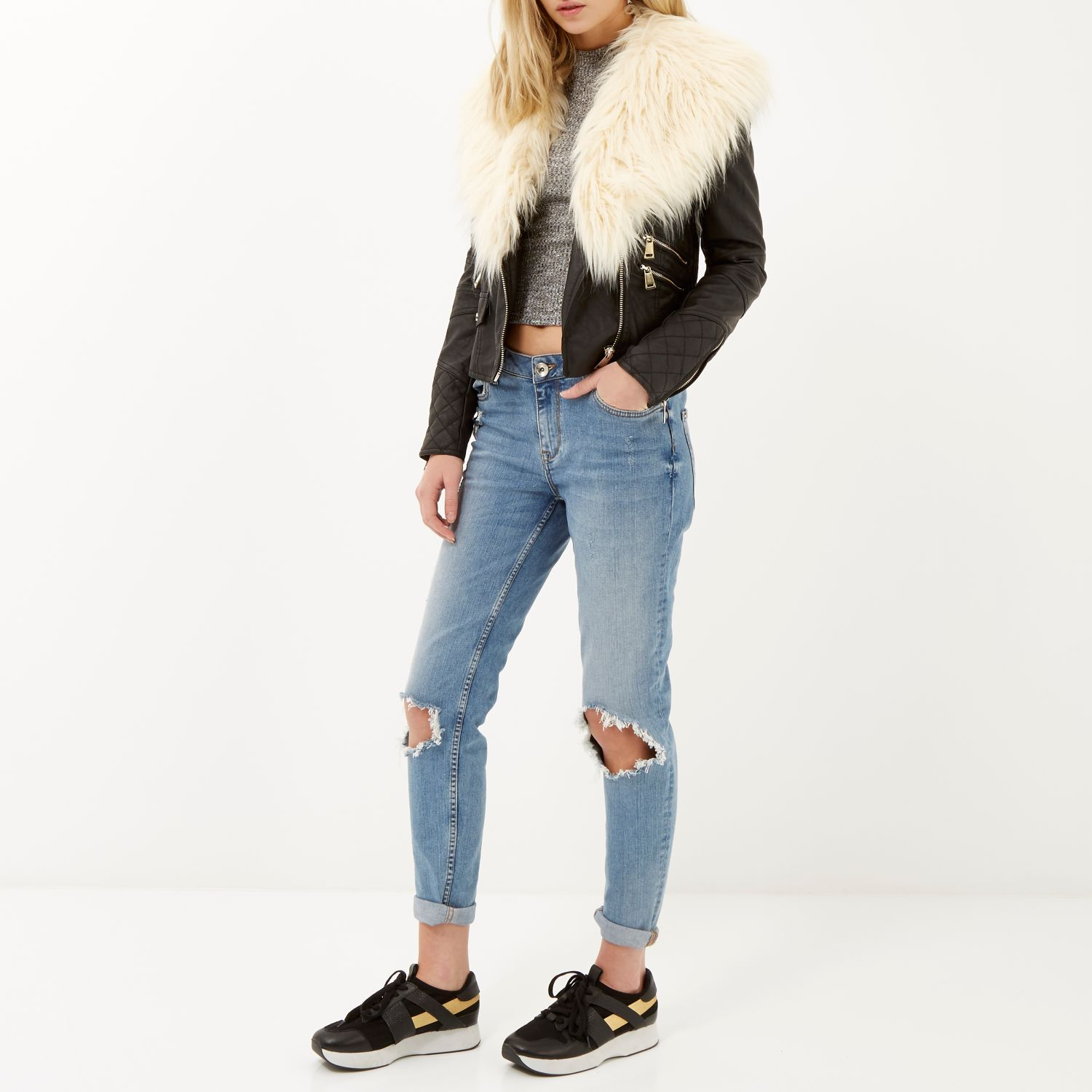 a04fc10ac2426 River Island Black Leather-look Faux Fur Trim Biker Jacket in Black ...