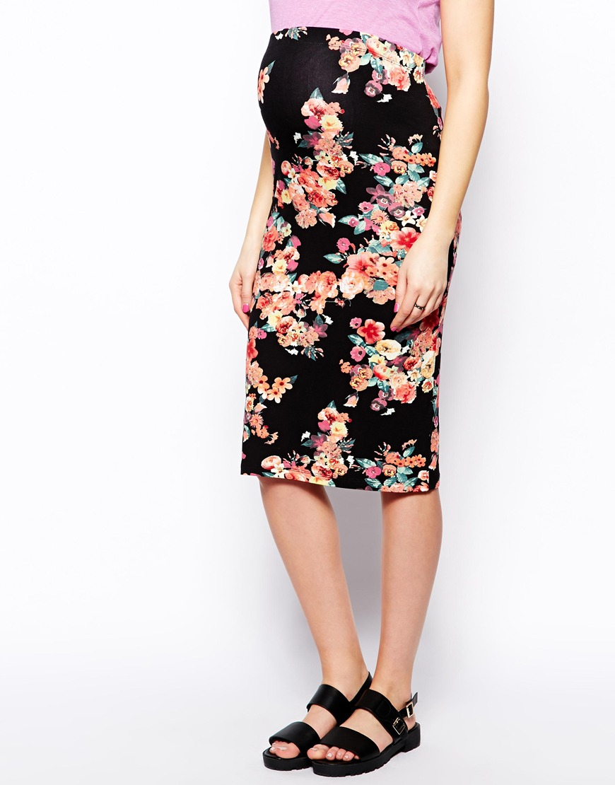 asos pencil skirt in bright floral lyst
