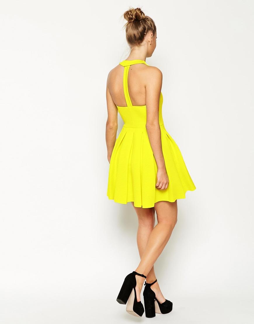 5e75db73618 ASOS Self Stripe Panelled Full Skirt Halter Dress in Yellow - Lyst