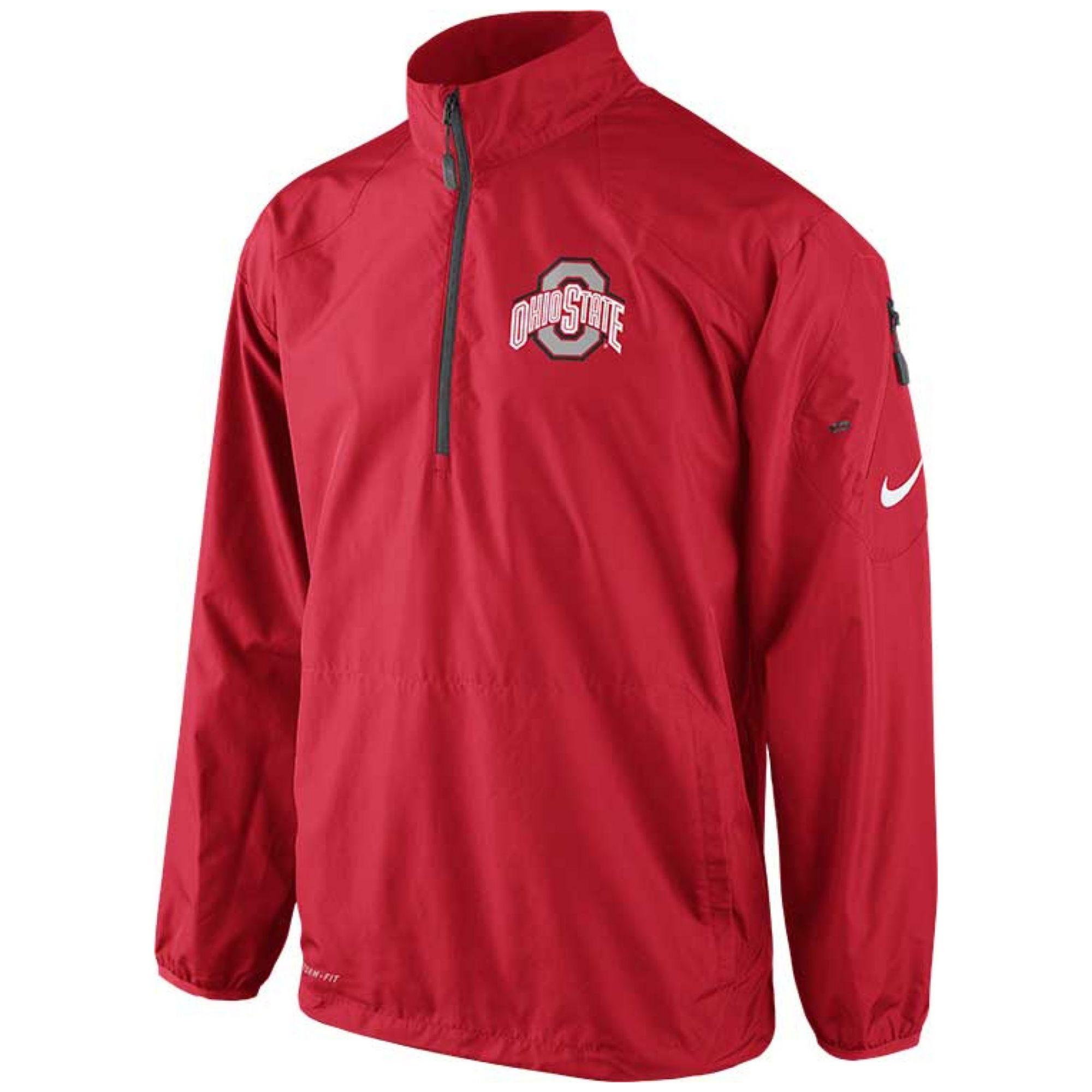 Nike Mens Ohio State Buckeyes Halfzip Pullover Jacket In