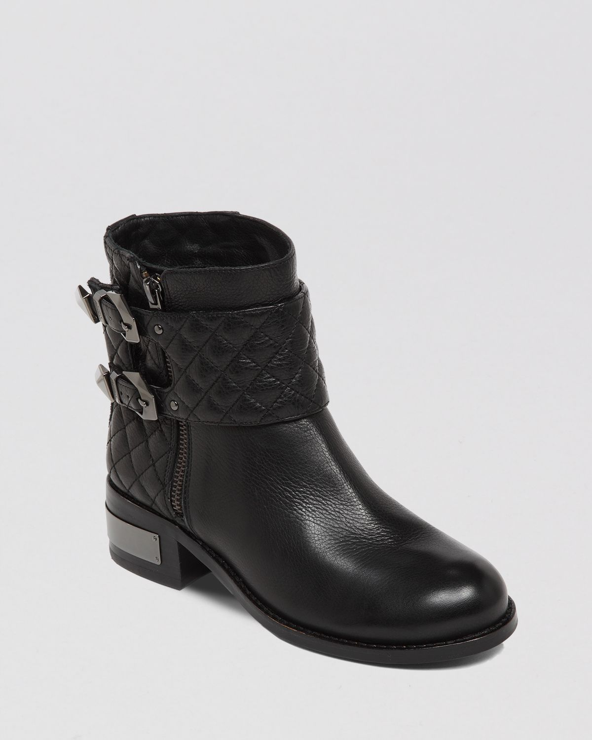 Vince camuto Booties - Winta Quilted Moto in Black   Lyst