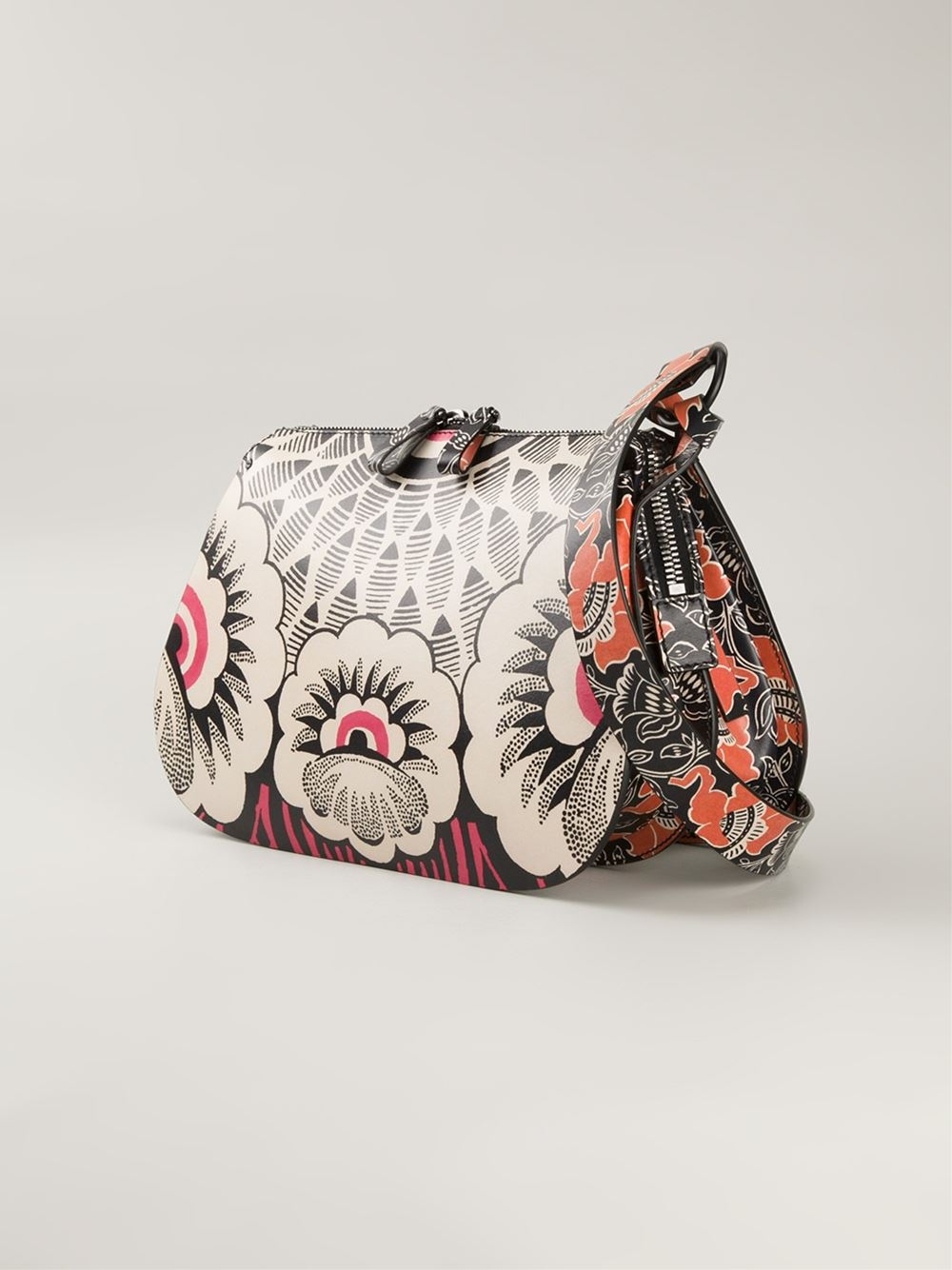 Lyst - Valentino Floral-Print Leather Shoulder Bag