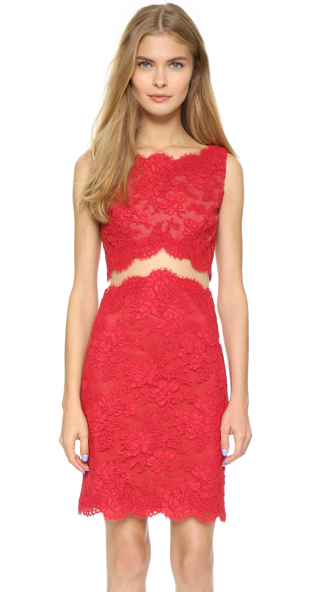 Lyst reem acra re embroidered sheath dress red in