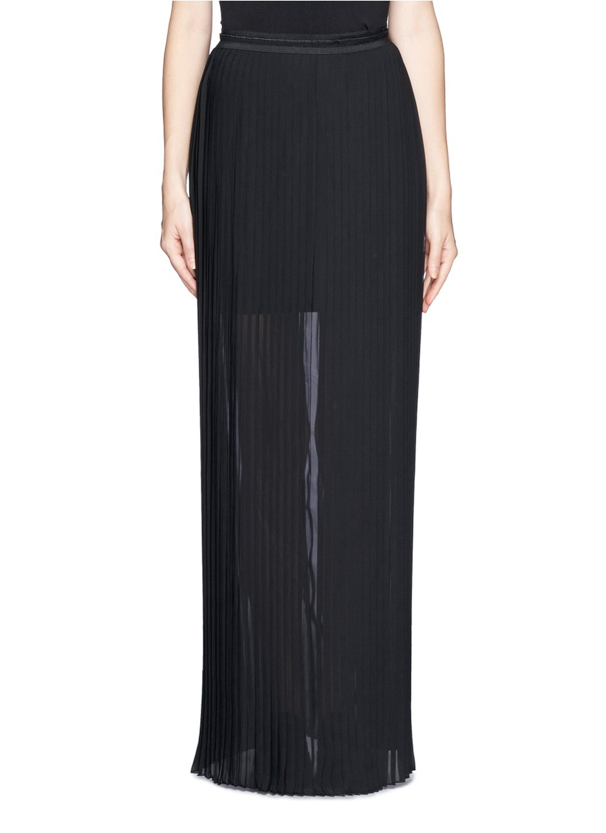 pliss 233 pleat sheer maxi skirt in black lyst