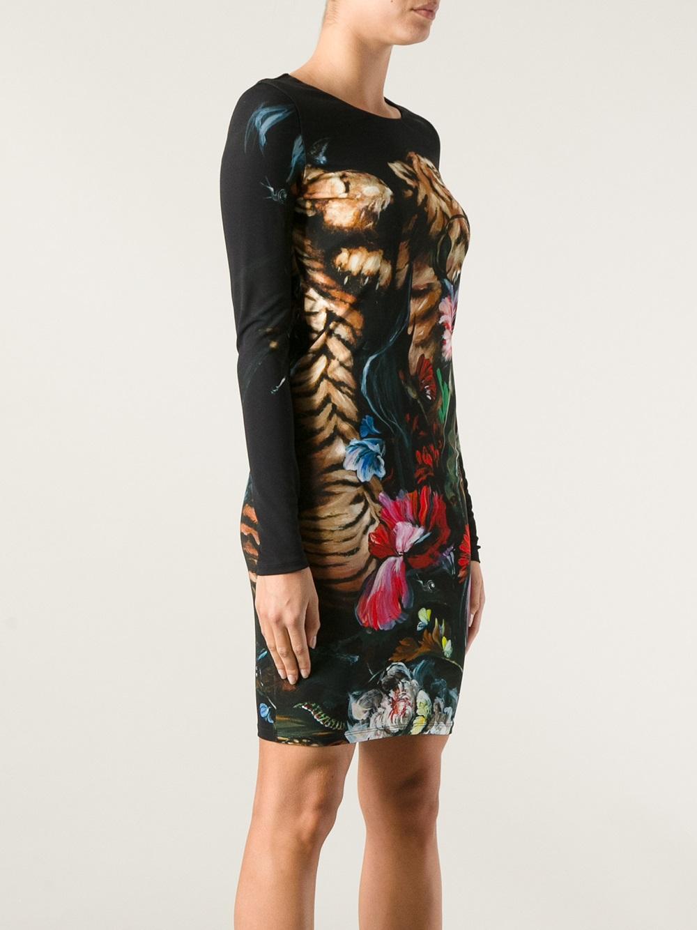 Roberto Cavalli Tiger Print Dress In Black Lyst