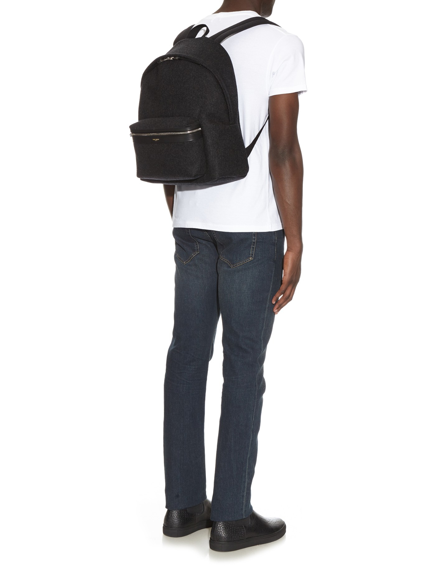 85d8e9829 Saint Laurent Flannel Backpack in Gray for Men - Lyst