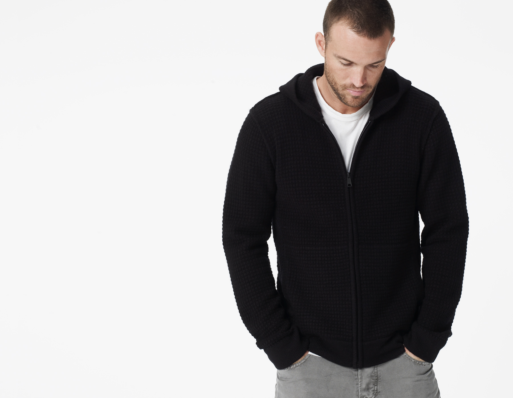 James perse Cashmere Thermal Full Zip Hoodie in Black for Men | Lyst