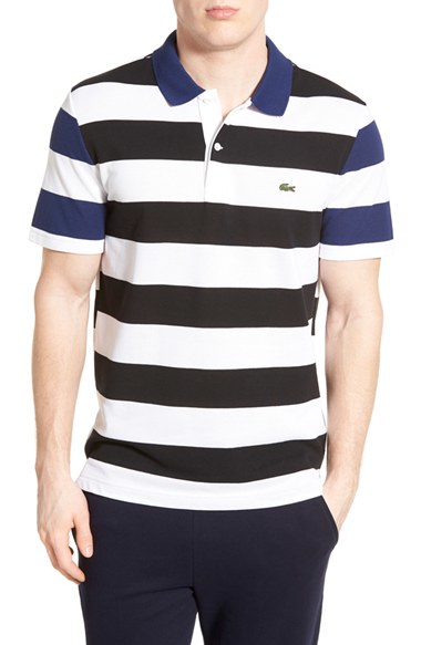 Lacoste colorblock bar stripe pique polo in black for men for Lacoste stripe pique polo shirt