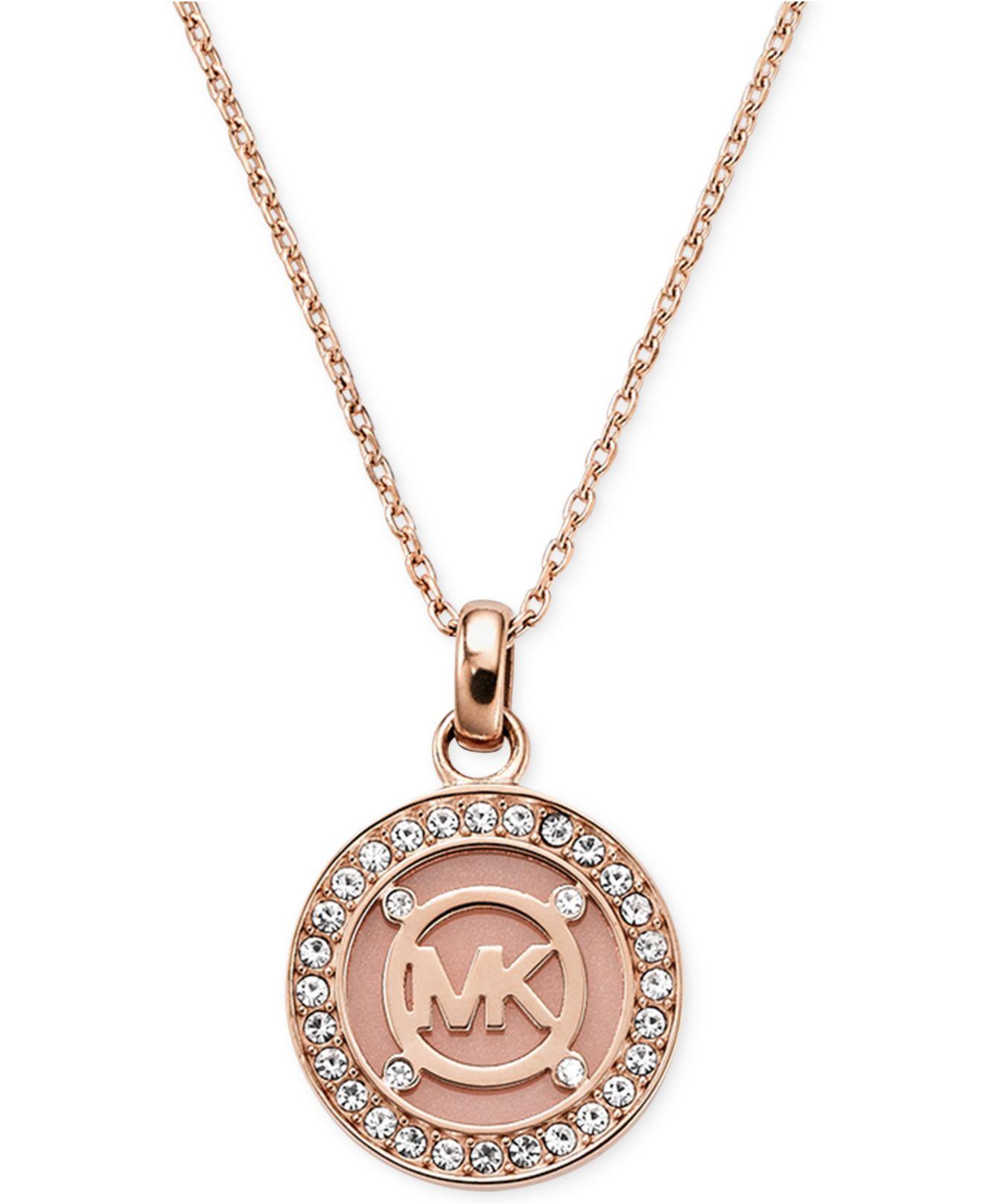 d5baf7db619e Lyst - Michael Kors Rose Gold-Tone Blush Mk Logo Disc Necklace ...