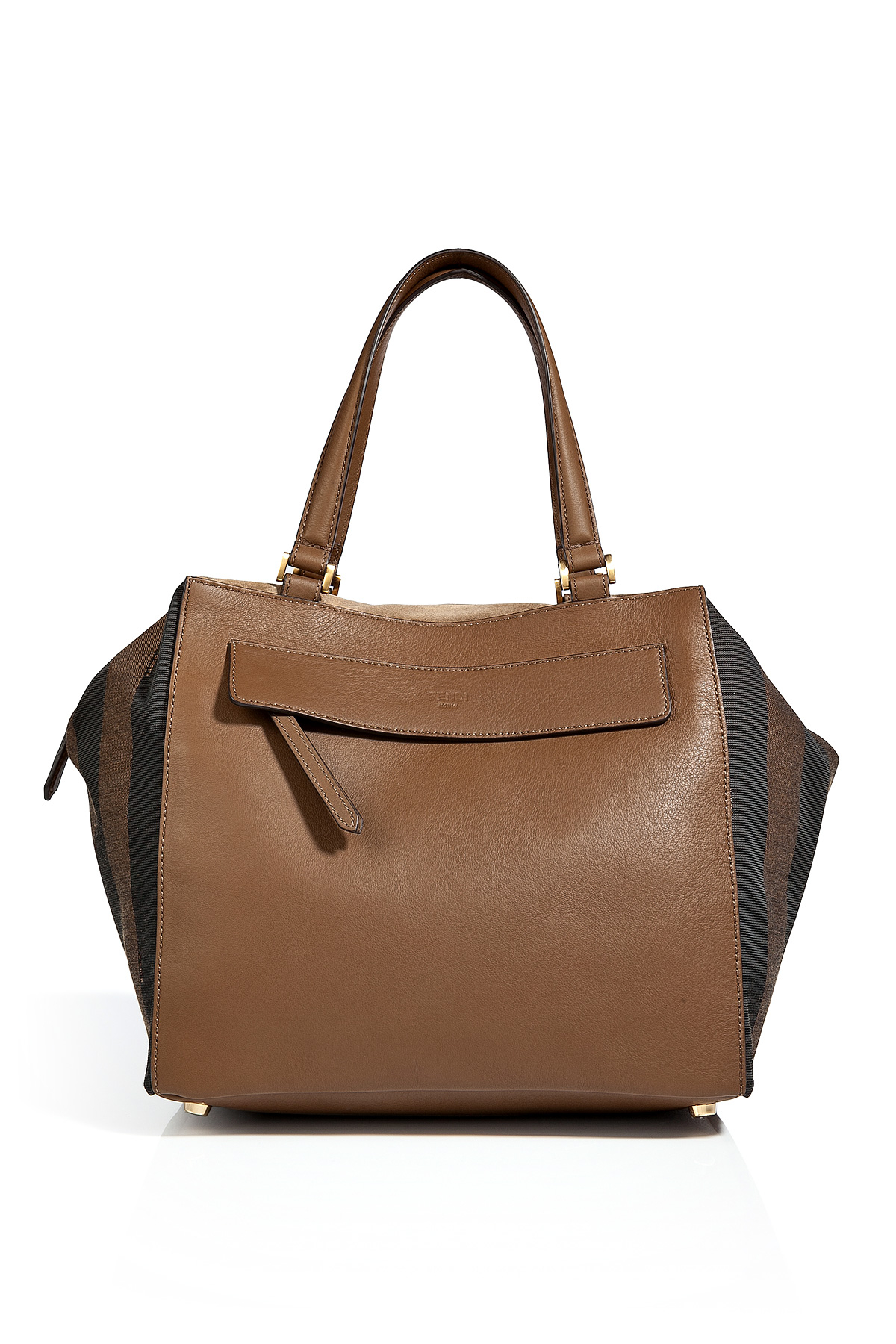 Fendi Pequin Small Striped Satchel in Tobaccoforest in Brown - Lyst 236d7f4a65