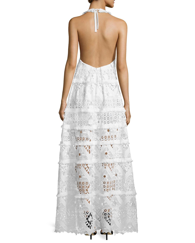 Alexis Nubia Crochet Halter Maxi Dress in White | Lyst