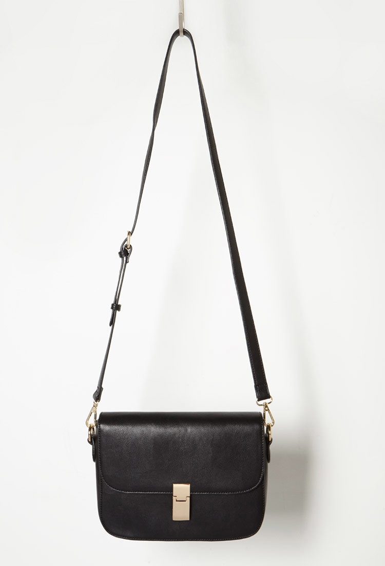 Lyst - Forever 21 Structured Faux Leather Crossbody in Black 1d234afc17c79