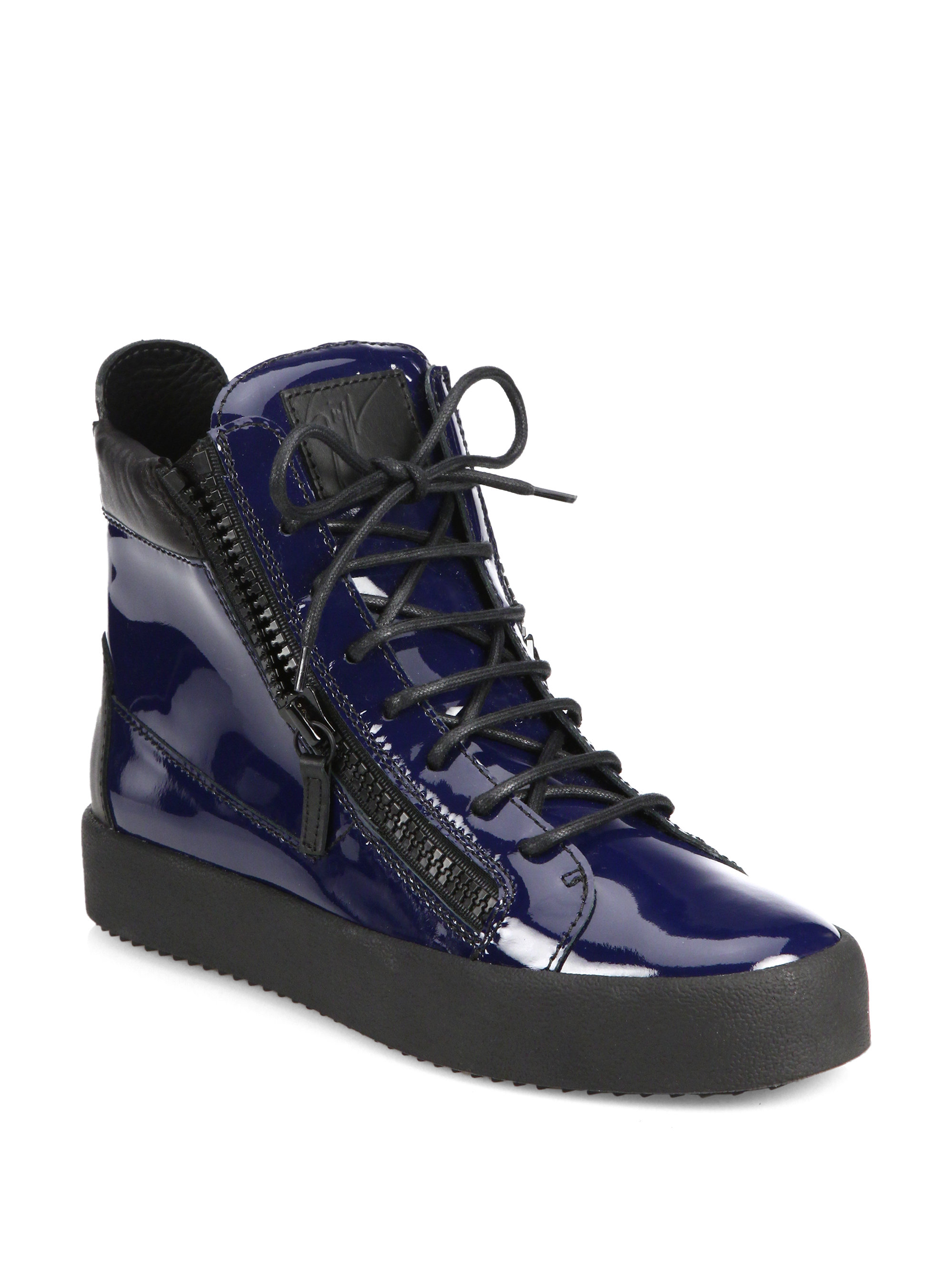 giuseppe zanotti patent double zip high top sneakers in blue lyst. Black Bedroom Furniture Sets. Home Design Ideas
