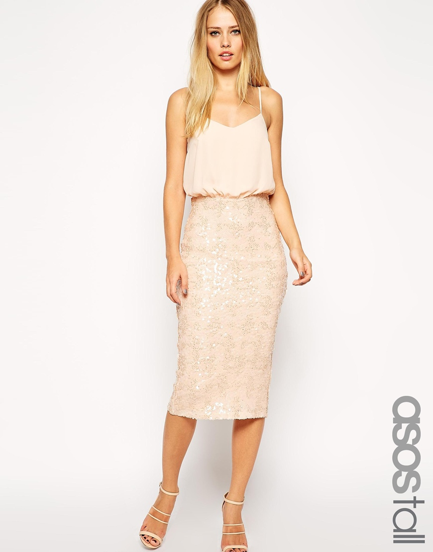 asos exclusive sequin skirt midi cami dress in lyst