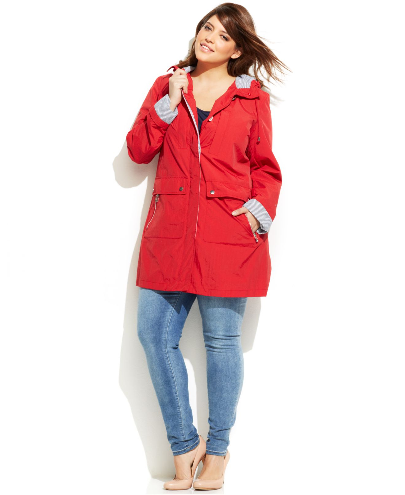 6534adf243ba4 Lyst - Tommy Hilfiger Plus Size Button-Front Anorak Jacket in Red