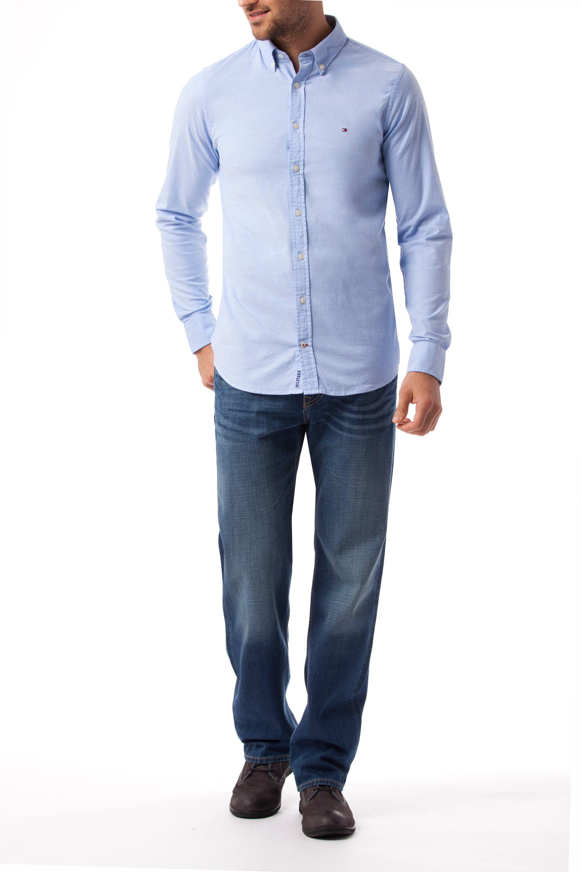 tommy hilfiger stretch oxford slim fit shirt in blue for. Black Bedroom Furniture Sets. Home Design Ideas