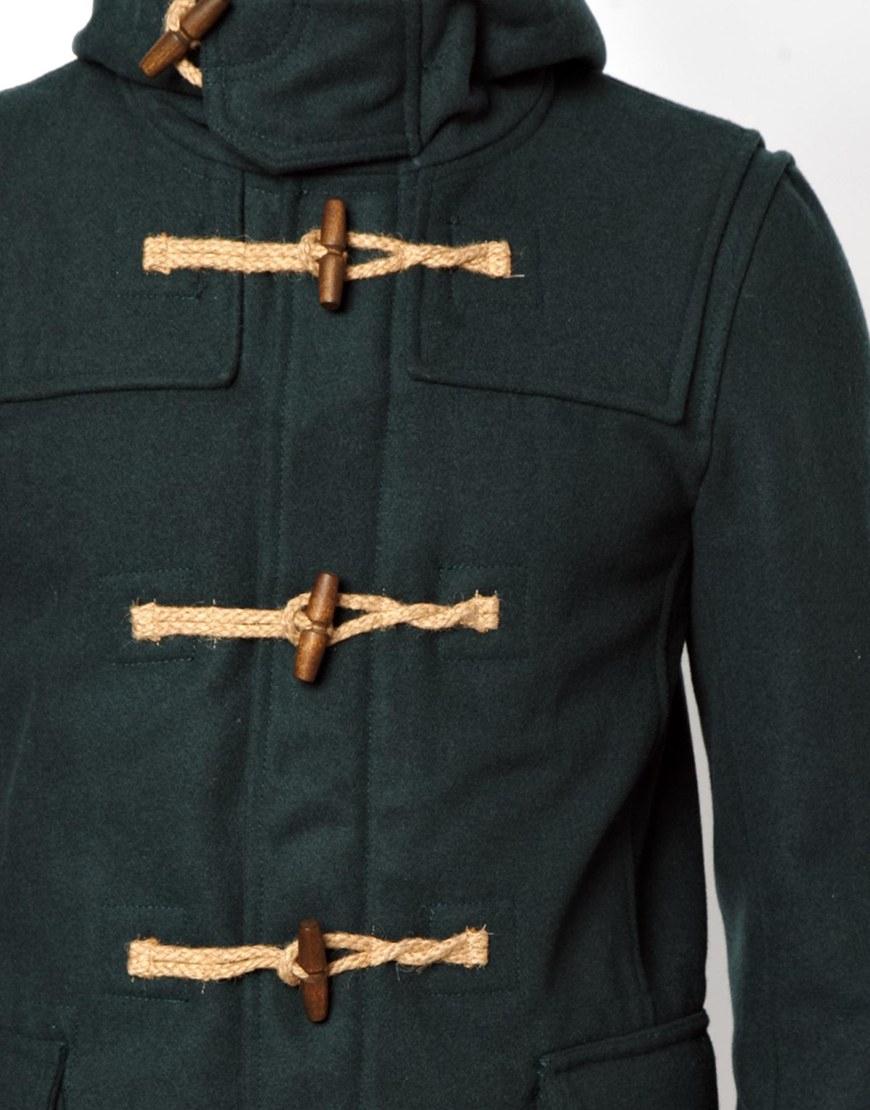 Pull&ampbear Duffle Coat in Wool Mix in Green for Men | Lyst