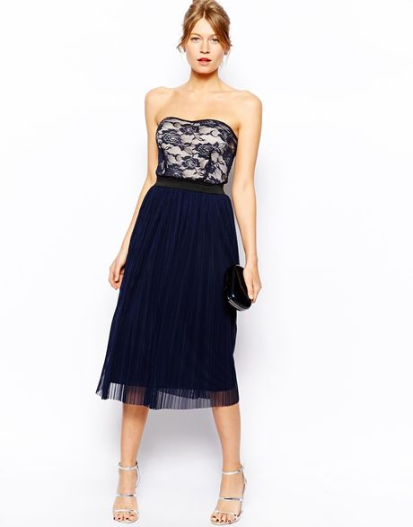 lace bandeau midi skater dress with pleat skirt in