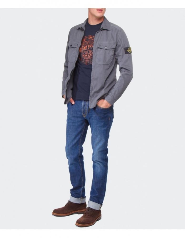 Stone Island Soft Shell: Stone Island Zip-Through Overshirt In Gray For Men