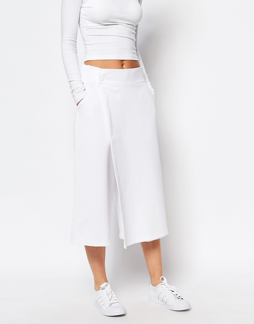 dac28e1b55e0 Lyst - adidas Originals Originals By Hyke Awkward Length Skort Culotte  Trousers in White