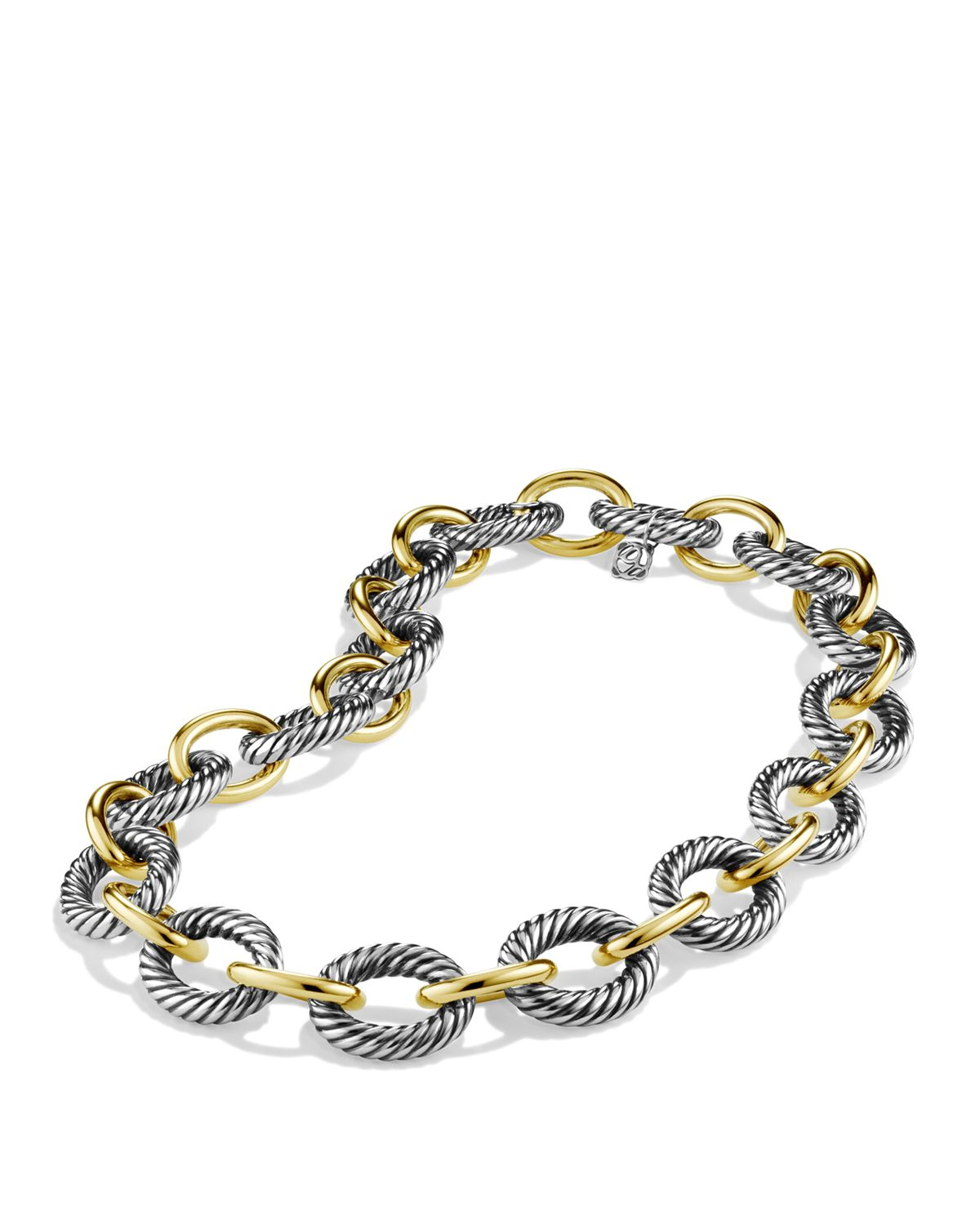 david yurman oval large link necklace with gold 16