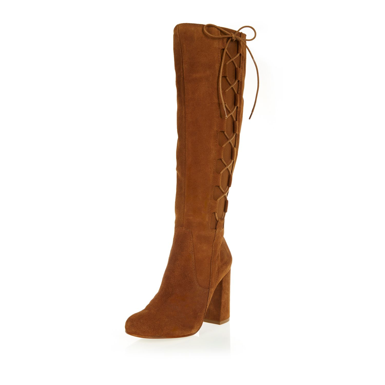 River island Tan Suede Knee High Lace-up Boots in Brown | Lyst
