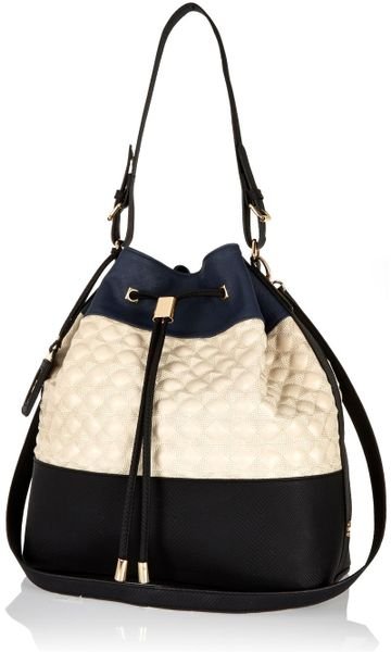 River Island Navy Quilted Duffle Bag In Gold Navy Lyst