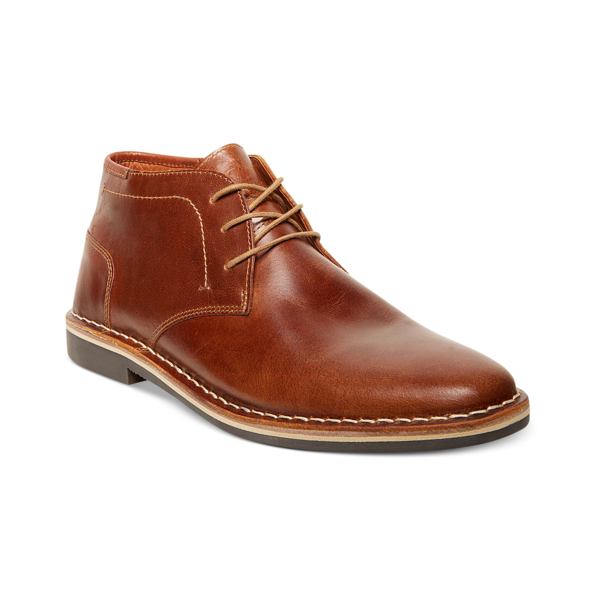 steve madden harken chukka boots in brown for cognac