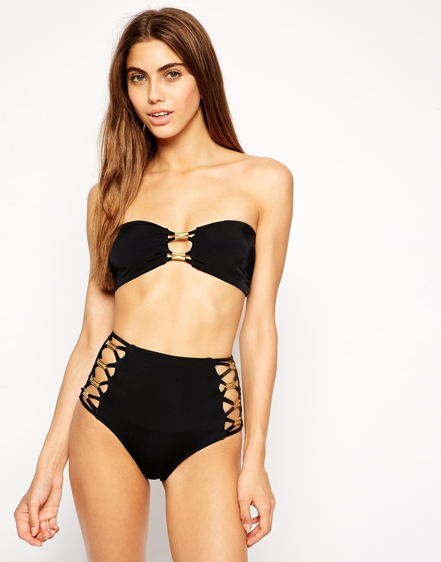 lyst asos gold trim strap high waist bikini bottom in black. Black Bedroom Furniture Sets. Home Design Ideas
