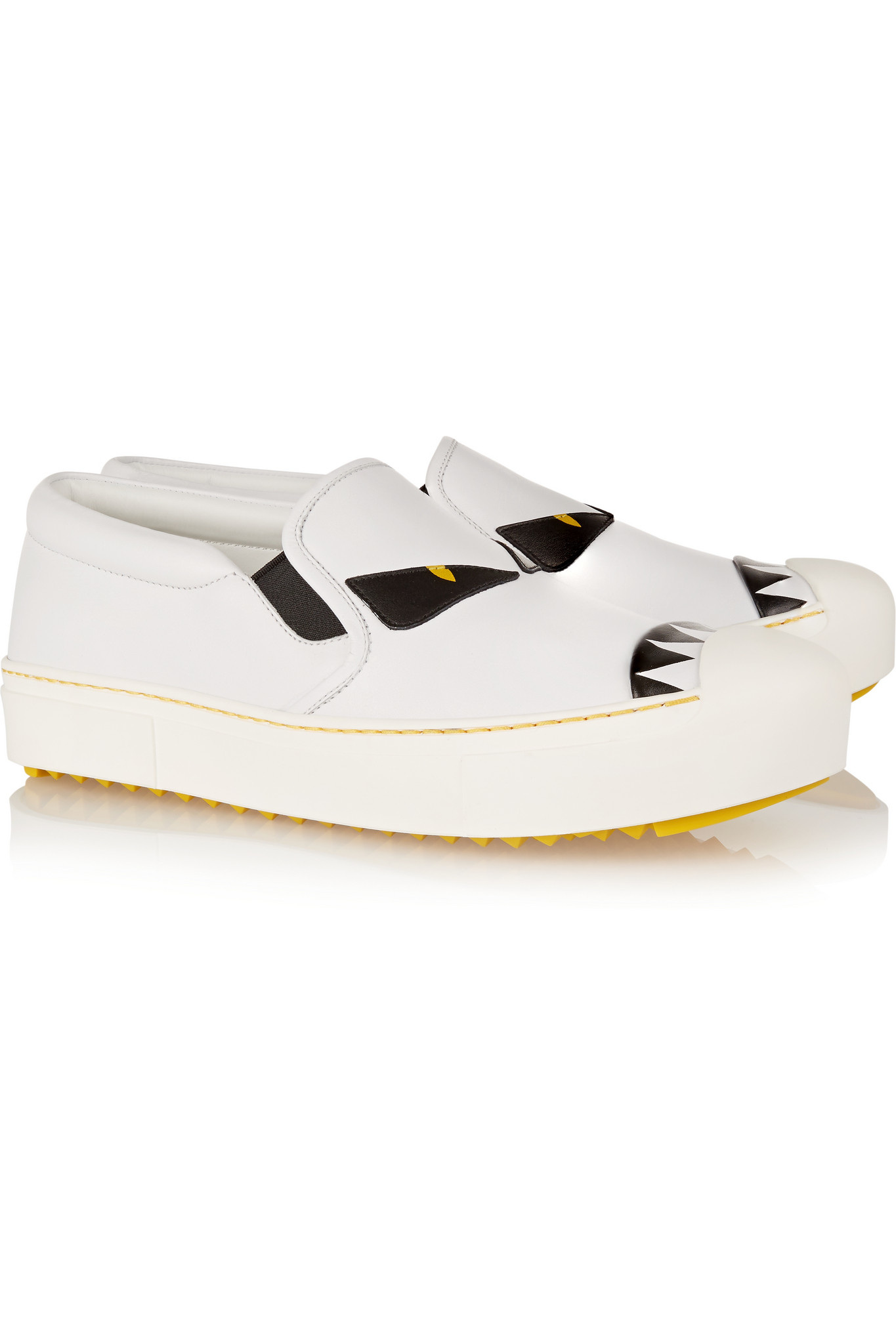 8ee307122a2f Fendi Bag Bug Leather Slip-on Sneakers in White - Lyst