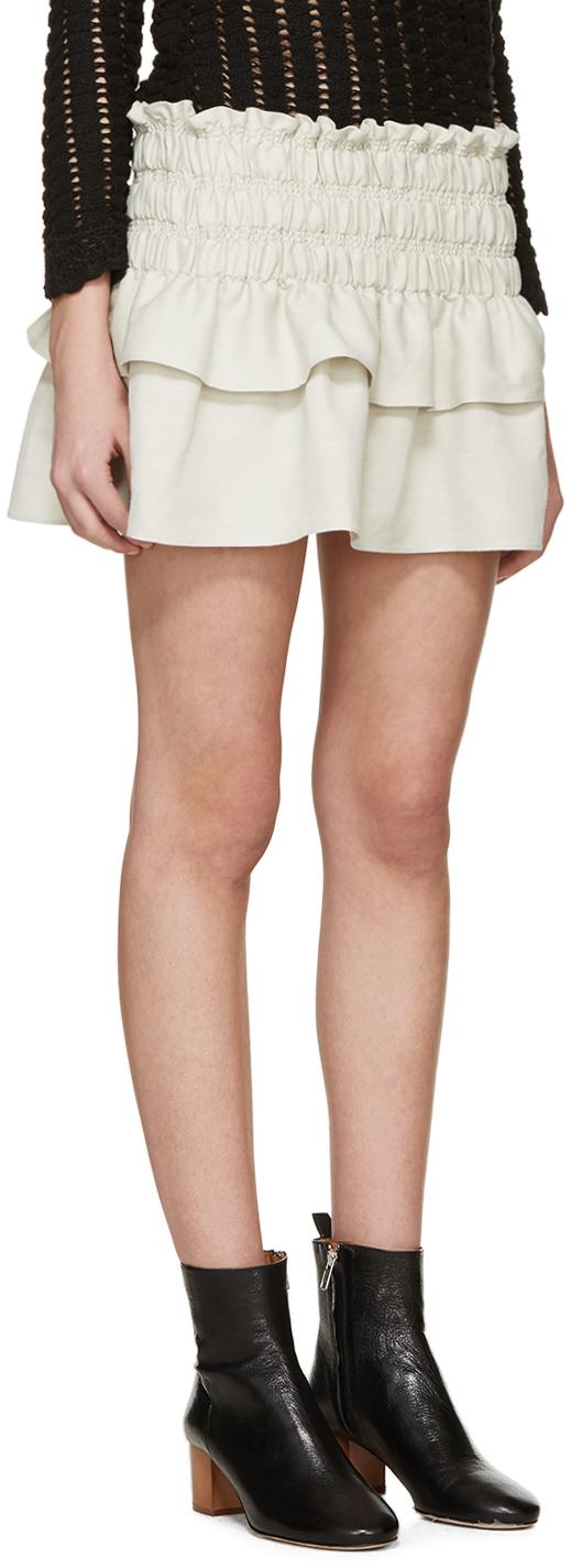 Étoile isabel marant Beige Linen Ruffled Krista Miniskirt in ...