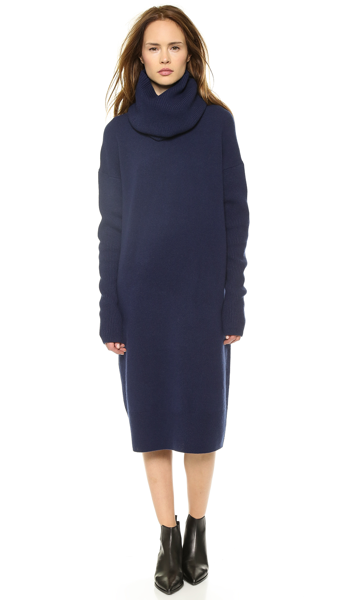 Acne studios Dita L Wool Sweater Dress Navy in Blue | Lyst