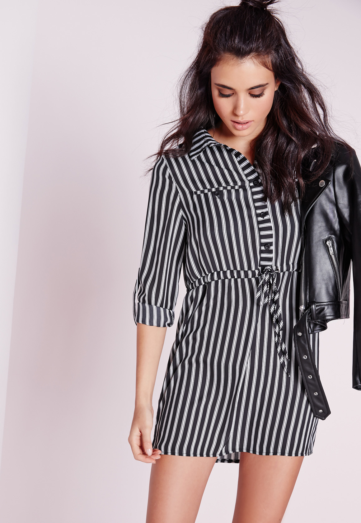 Missguided Petite Exclusive Mono Stripe Shirt Dress in White | Lyst