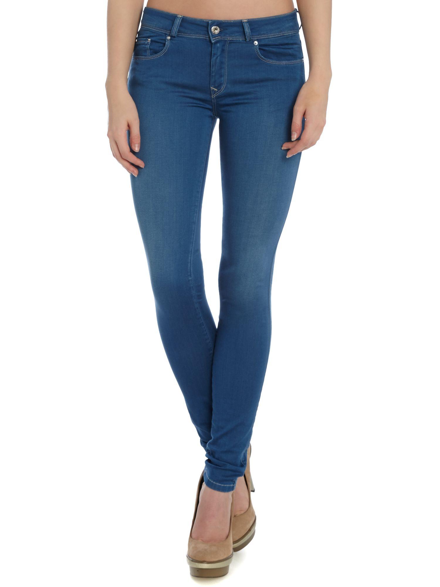salsa colette comfort skinny jean in mid wash in blue lyst. Black Bedroom Furniture Sets. Home Design Ideas