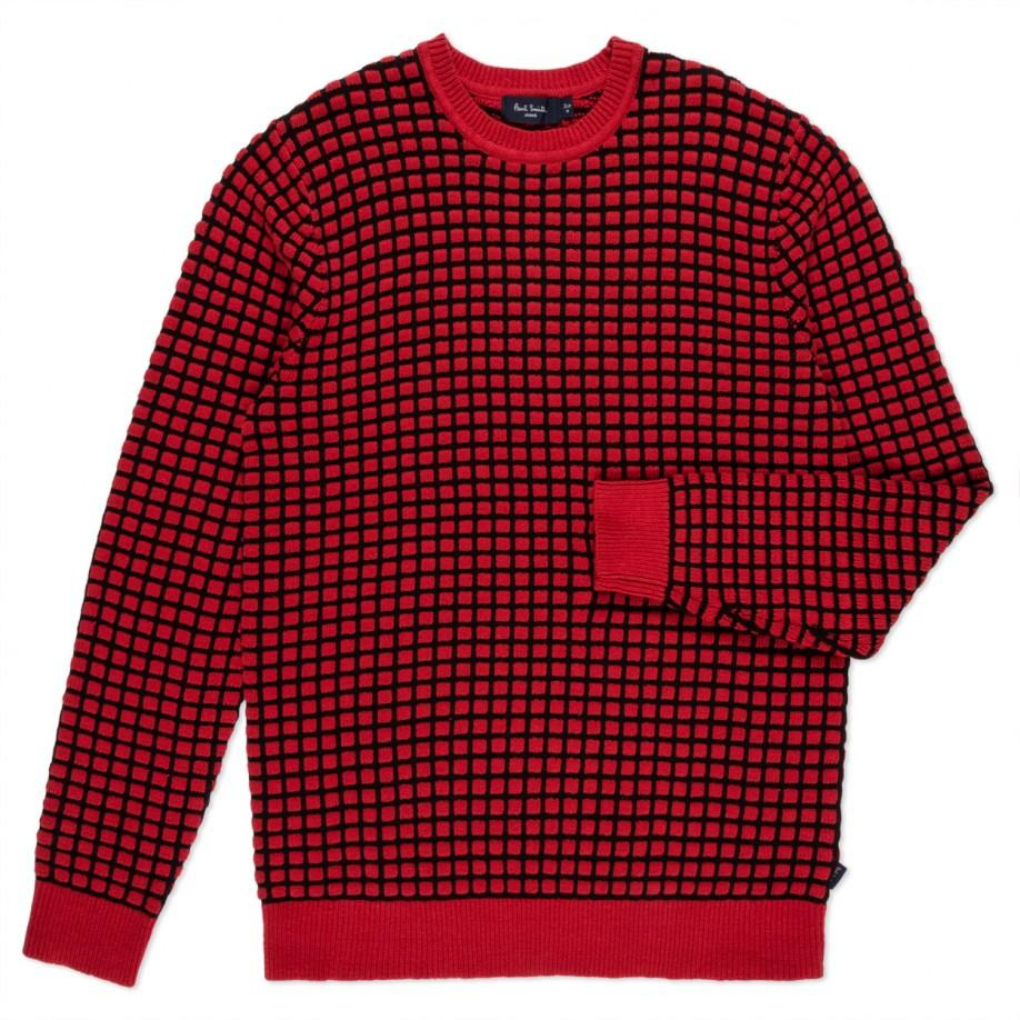Paul smith Red Square Tuck-Stitch Cotton Sweater in Red for Men | Lyst