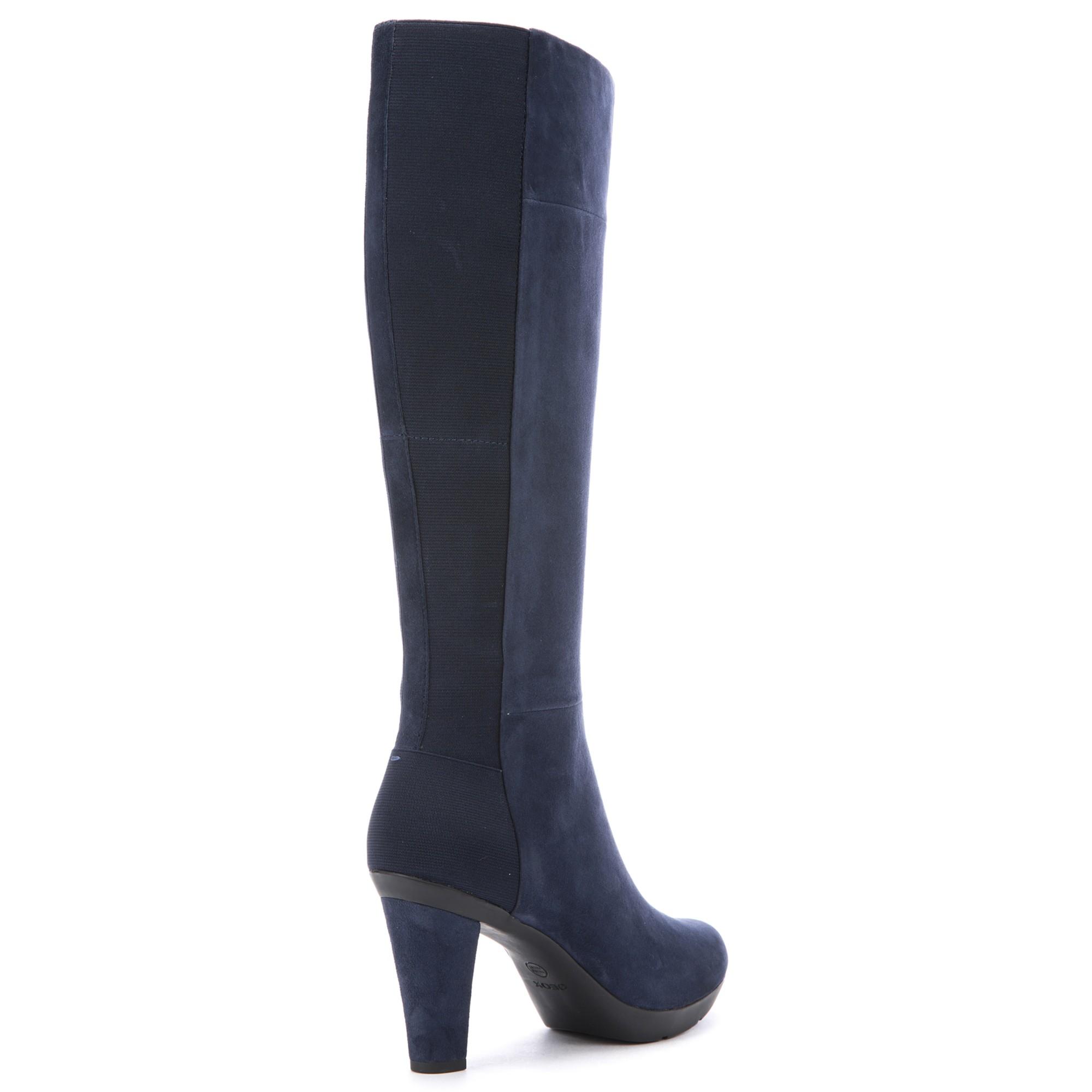e0b988d7ec835 Geox Inspiration High Heeled Knee High Boots in Blue - Lyst