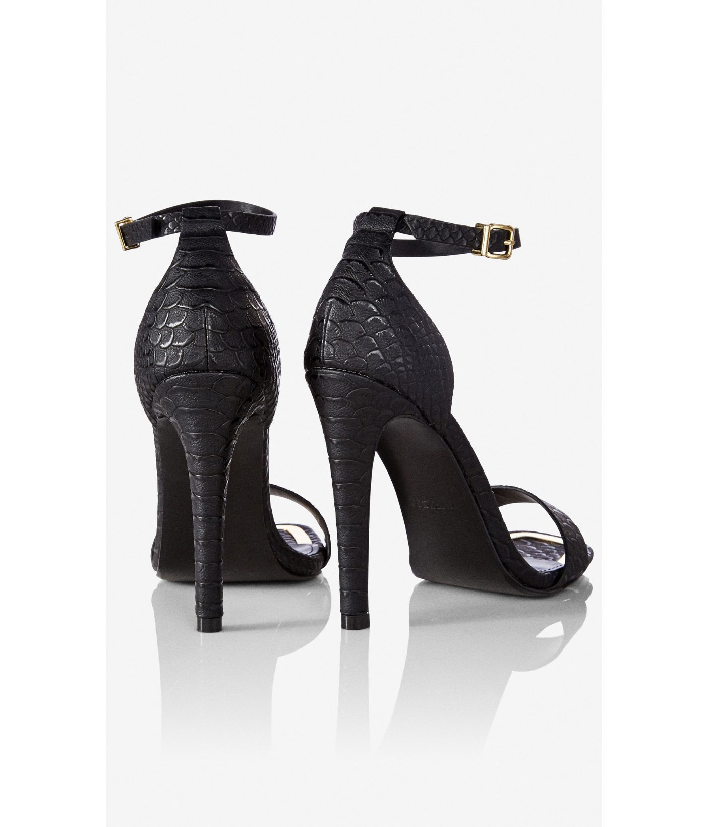 ebe5f579cbe2 Lyst - Express Square Toe Sleek Heeled Sandal in Black